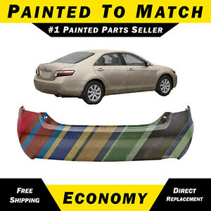 New Painted To Match Rear Bumper Cover For 2007 2011 Toyota Camry Single Exh