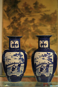Rare Pair Of Chinese Antique Blue White Vase Officially Marked Wax Seal Stamp