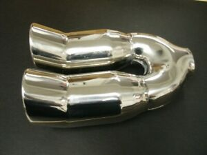 Exhaust Dual Tip 2 1 4 Inch Inlet Polished Stainless Steel Dbl Outlet Ship Free