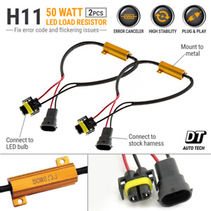 H11 Led Drl Fog Light Canbus 50w 6ohm Load Resistor Wiring Canceller Decoder