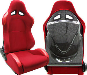 New 2 Red Cloth Carbon Back Cover Racing Seats Reclinable Fit For Nissan