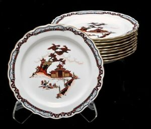 Rare 19th C Royal Worcester 10 Luncheon 9 Plates W Japanese Motif Handpainted