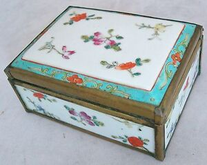 Antique Chinese Famille Rose Porcelain Brass Box With Hinged Lid 4 75