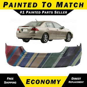 New Painted To Match Rear Bumper Cover For 2006 2007 Honda Accord Sedan