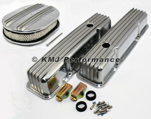 58 86 Sbc Chevy 350 Finned Polished Aluminum Valve Covers And Air Cleaner Kit
