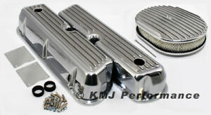 Sbf Ford 302 351w Ford Finned Polished Aluminum Valve Covers And Air Cleaner Kit