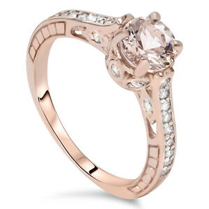 1.25 Ct Morganite & Diamond Vintage Antique Style Engagement Ring 14K Rose Gold