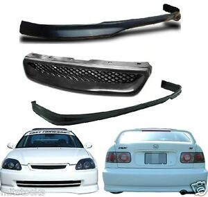 For 96 97 98 Civic 2 4 Door Type R Pu Black Front Rear Bumper Lip Grill