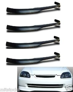 4 X For 99 00 Civic 2 3 4 Door Type r Pu Black Add on Front Bumper Lip Spoiler