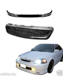 For 96 97 98 Civic 2 3 4 Door Pu Black Add on Front Bumper Lip Mesh Grill
