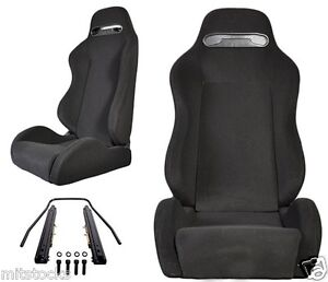 2 Black Cloth Black Stitching Racing Seats Reclinable W Slider All Bmw