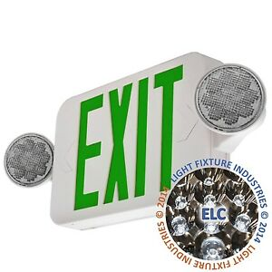 Led Green Exit Sign Emergency Light Hi Output Compact Combo Ul924 Combogjr2