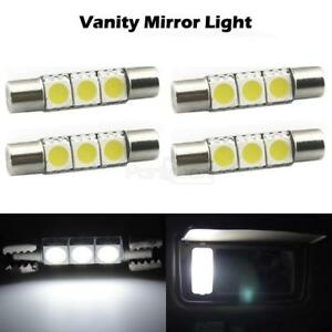 4x White 5050 Smd 6641 29mm Fuse Led Sun Visor Vanity Mirror Lights For Cadillac