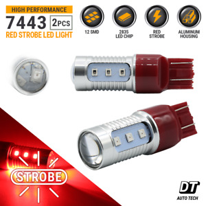 Syneticusa 7443 Red Led Strobe Flash Blinking Brake Tail Light Parking Bulbs