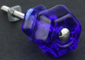 Vintage Style Depression Glass Cabinet Knobs Pull Victorian Cobalt Blue Set Of 4