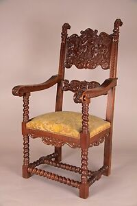 Gothic Jacobean Carved Arm Chair English 19th C Antique Handmade Ex Cond