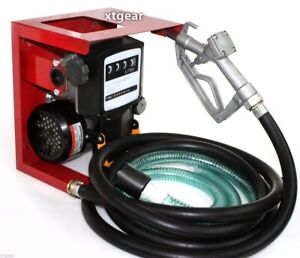 110v Electric Oil Fuel Diesel Gas Transfer Pump W meter 12 Hose Manual Nozzle