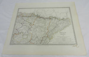 1831 Antique Sduk Color Map North Eastern Spain Espana Hand Colored