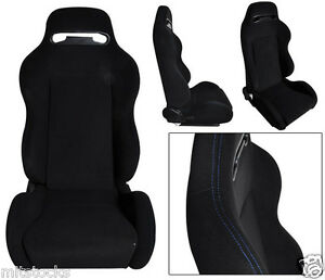 2 Black Cloth Blue Stitch Racing Seats Reclinable Sliders Volkswagen New