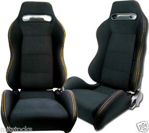 2 Black Cloth Yellow Stitch Racing Seats Reclinable Sliders Volkswagen New