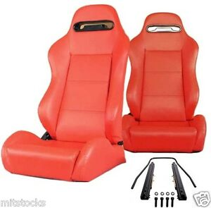 2 Red Leather Racing Seats Reclinable Sliders Volkswagen New