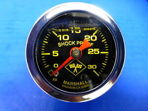Marshall Gauge 0 30 Psi Fuel Pressure Oil Pressure 1 5 Midnight Chrome Liquid