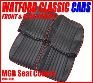 Mgb Roadster And Gt Pair Of Seat Covers 1970 1981 Leather Look Black red