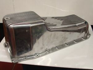 Sbc Chevy Polished Aluminum Ribbed Oil Pan 80 85 305 350 2 Piece Rear Main