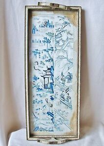 22 8 Tray Framed Antique Chinese Blue White Embroidery Silk Sleeve Cuffs