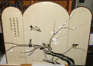 Japanese Birds On Blossom Tree 3 Panel Acrylic Wood Wall Screen Painting Signed