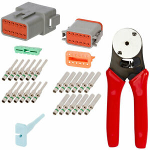 Deutsch 12 Way Connector Kit 14 16 Ga Terminals With Crimp Tool 20 12 Awg