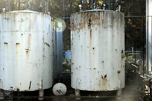 3500 approx Gallon Carbon Steel Cone Bottom Vertical Storage Tank Used