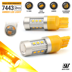 7443 7440 7444 Led Amber Yellow Front Rear Turn Signal Drl Hi Power Light Bulbs