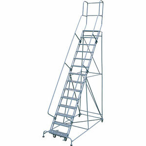 Cotterman Rolling Steel Ladder 450lb Cap 14 step Ladder 140in Platform