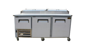 84 New Us made Two Half 2 Door Refrigerated Pizza Salad Prep Table Restaurant