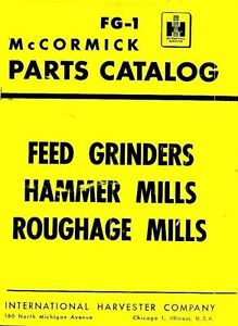 International Mccormick Feed Grinders B C D Roughage Mills No 2 3 Parts Manual