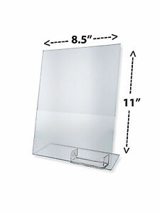 10 Clear Acrylic 8 5x11 Display Sign Holders W Business Card Holder