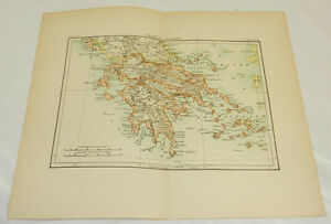 1880 Antique Color Map Modern Greece