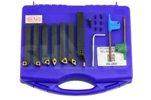 Shars 7pcs 3 8 Indexable Turning Threading Lathe Tool Insert Certificate S