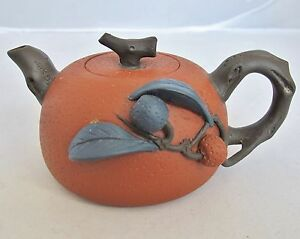 5 4 Used Chinese Red Yixing Zisha Clay Teapot W High Relief Fruit