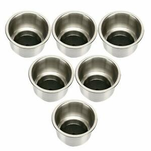 6 X Stainless Steel Cup Drink Holder With Drain Fr Boat Rv Camper Anti Corrosion