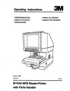 3m M 7540 Mfb Microfilm Reader Printer Owners Manual