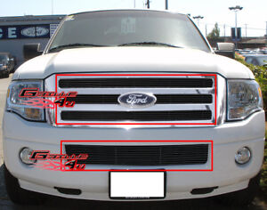 Fits 2007 2014 Ford Expedition Black Billet Grille Grill Insert Combo