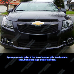 Fits 2011 2014 Chevy Cruze Black Billet Grille Grill Insert Combo