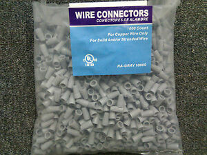 10 000 Pc Lot new Gray Grey Screw on Nut Wire Connectors Barrell Twist On