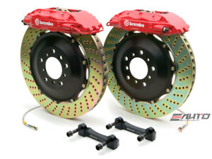 Brembo Front Gt Brake Bbk 4pot Red 355x32 2pc Drill Disc Rotor Mustang 05 13