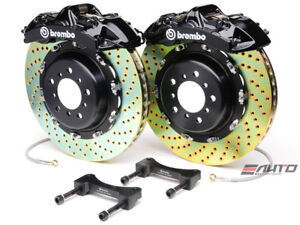 Brembo Front Gt Brake Bbk 6pot Black 380x32 2pc Drill Disc Rotor Mustang 05 13