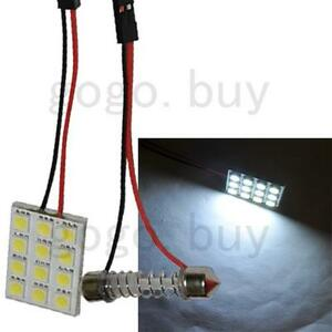 100x 12 Smd Led Panel Interior Flexible Bulb White 5050 31mm 42mm Dome Adapter