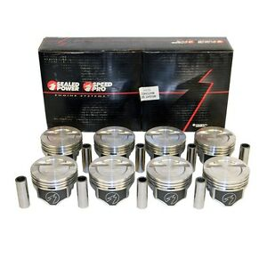 Chevy Small Block 383 12cc Dished Pistons Moly Rings Kit 030 Over Bore 4 030