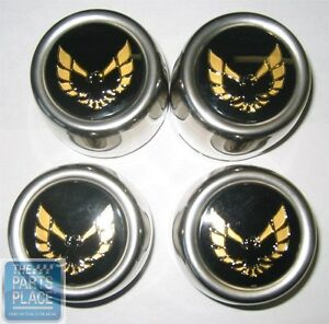 1976 80 Firebird Stainless Snowflake Center Caps Gold Set Of 4 620